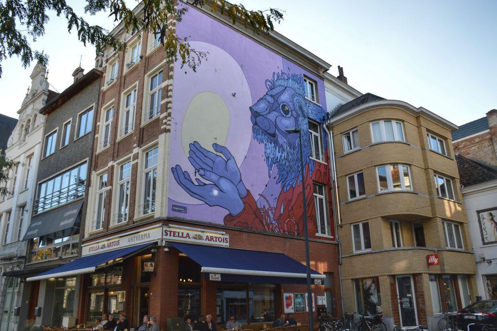 Muurschildering Korenmarkt Mechelen