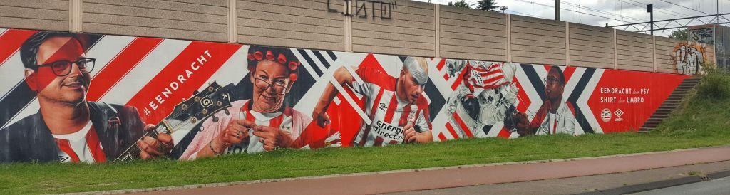 PSV muurschildering Eindhoven