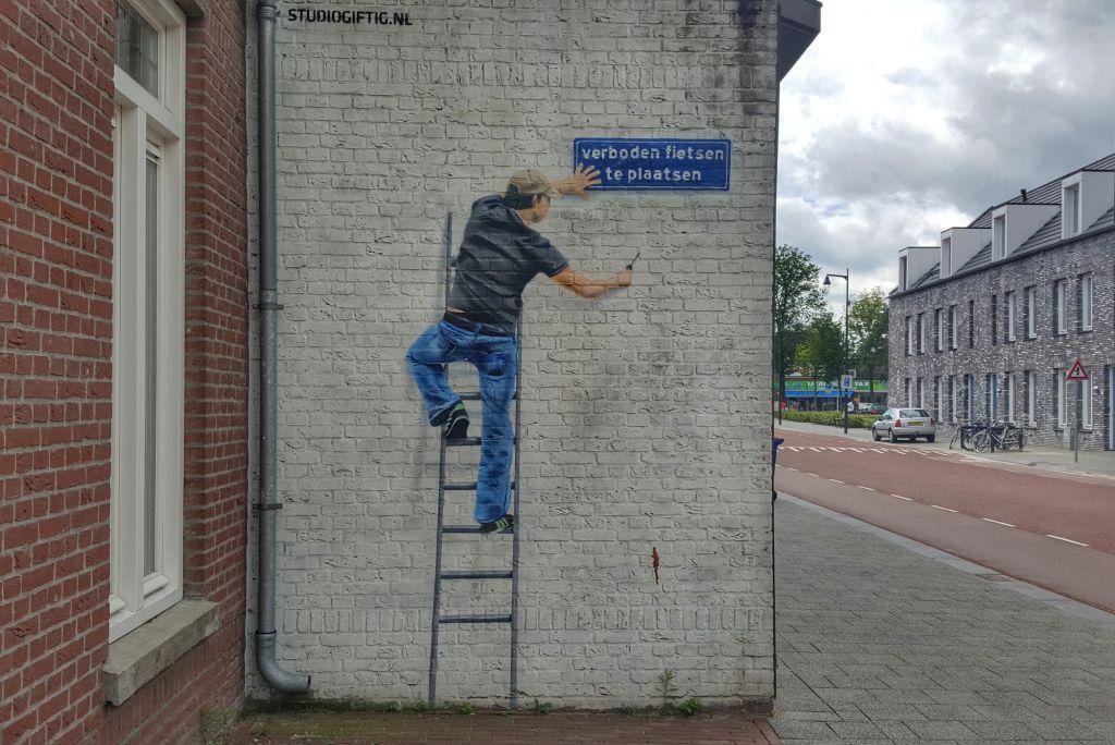 muurschildering verboden fietsen te plaatsen - Hoogstraat Eindhoven