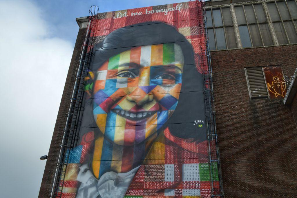 Muurschildering Anne Frank Amsterdam