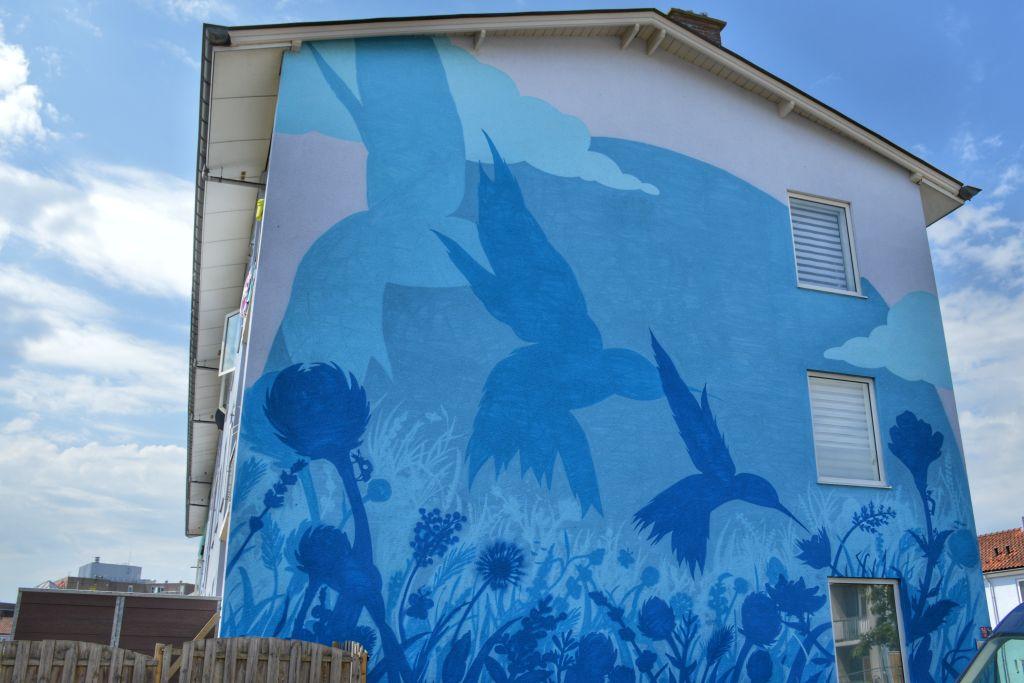 Muurschildering Vogelbuurt Dordrecht