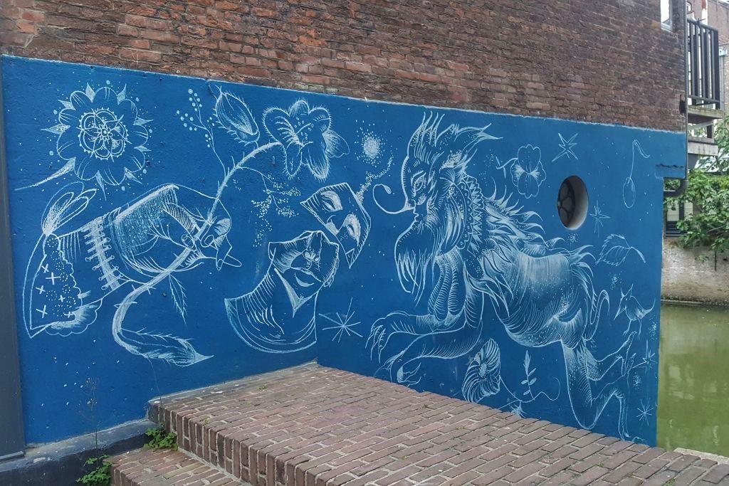 Beeldenstrom muurschildering - Dordrecht