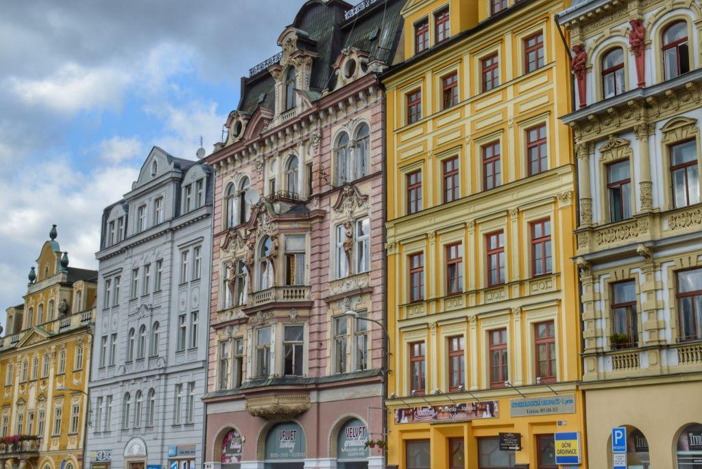 Pastelkleurige huizen Liberec