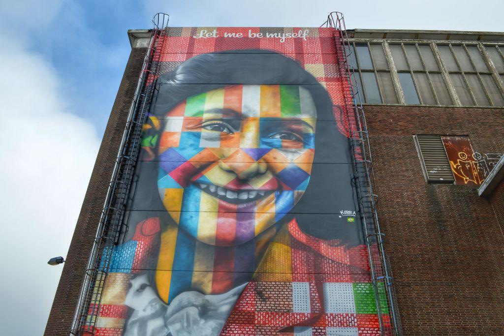 Anne Frank muurschildering Amsterdam
